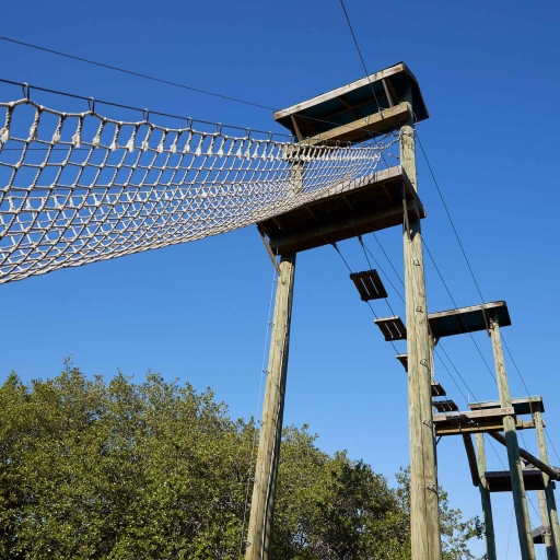 View of highrise challenge course for guests at Miraval Austin.