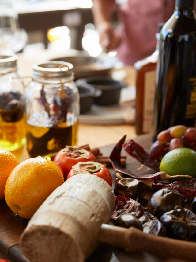 fresh fruits and dried ingredients used to infuse oils