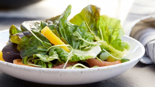 summer salad on white plate