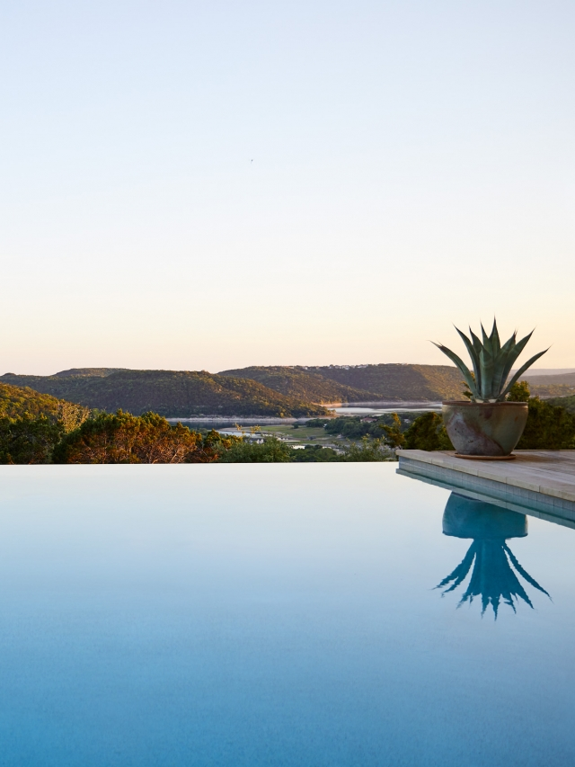 outdoor pool overlooking austin hill country in texas