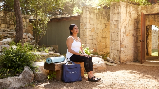 women sitting outside after yoga at miraval austin resort