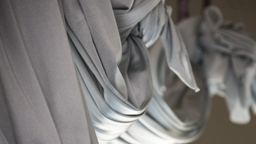 silver draping curtains