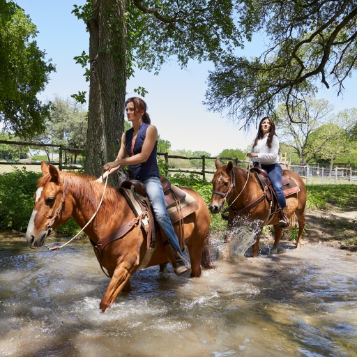 two women riding brown horses through water