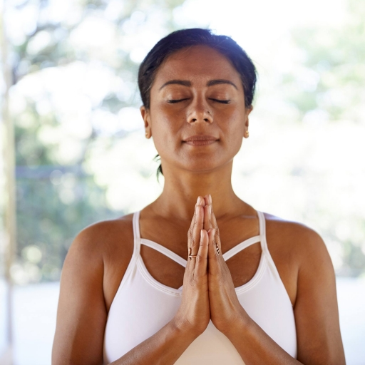 woman deep in mindful meditation