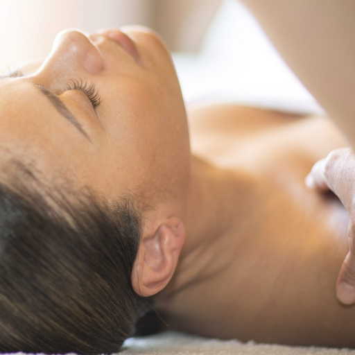 woman with eyes closed relaxing at miraval life in balance spa in austin