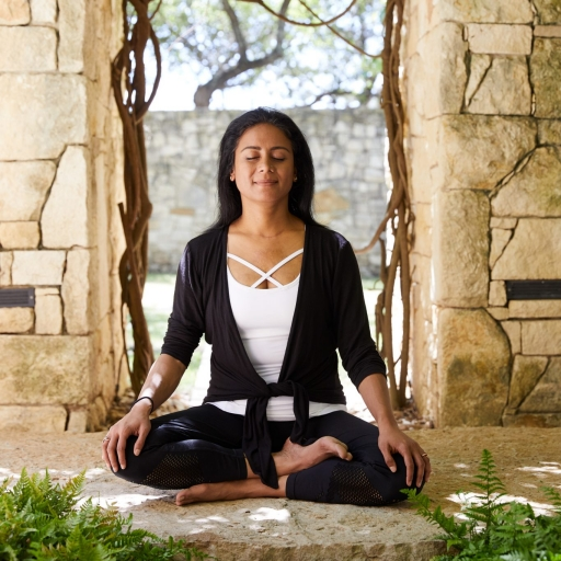 woman meditating at miraval austin