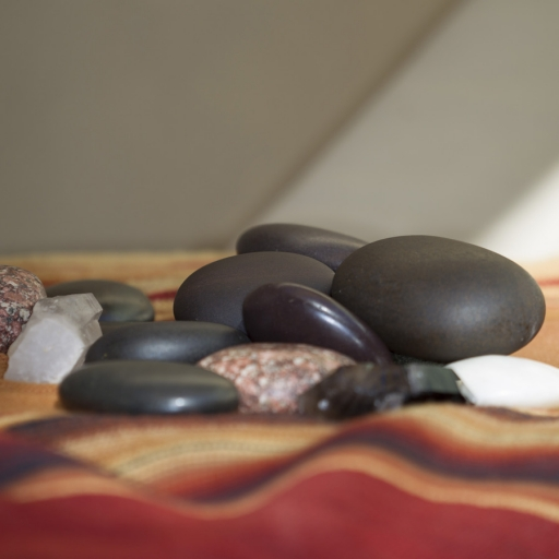 Close up of hot stones used in spa treatments at Miraval Austin.